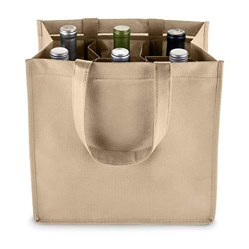 True 6 Bottle Wine Bag with Divider, Non-Woven 100 GSM, Customizable Reusable Wine Bottle Carrier, Beige