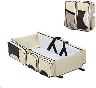 حقيبة محمولة للام لحفظ اغراض الطفل قابلة للطي لتتحول الى سرير بسعة كبيرة ومتعددة الاستعمالات