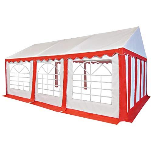 vidaXL - Carpa de jardín para recepción de jardín, cenador de exterior, reuniones al aire libre, PVC, 4 x 6 m, color rojo y blanco