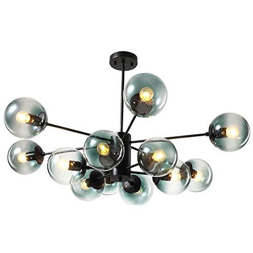 Lámpara de araña industrial Sputnik de 12 luces, lámpara colgante molecular de metal E27, lámpara de techo con pantalla de cristal de burbujas, lámpara colgante para sala de estar, azul claro, 12 cabe