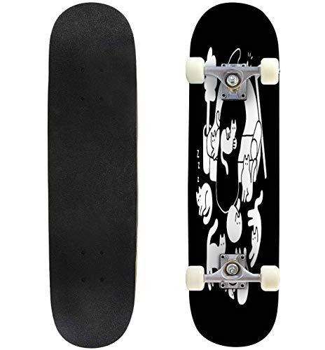 31'' Complete Skateboards 9 Lives Standard Skateboards for Beginners Kids Adults, Maple Double Kick Deck Concave Skate Board Longboard