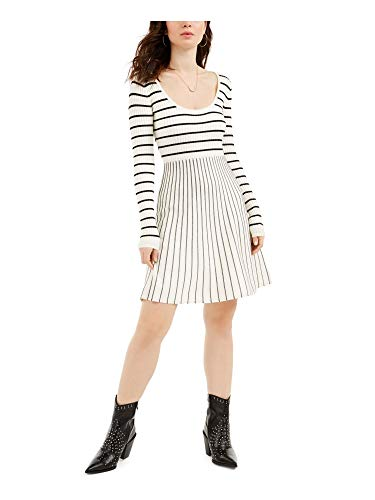 GUESS Womens Ivory Striped Long Sleeve Scoop Neck Knee Length Fit + Flare Dress Size S