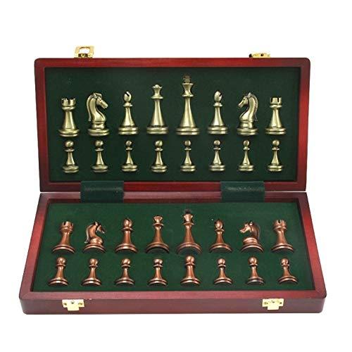 QIFFIY Schachspiel Metall glänzende Bronze und Messing Schachfiguren aus massivem Holz Klappschachbrett Hochwertige professionelle Schachspiele Set Schach Chess