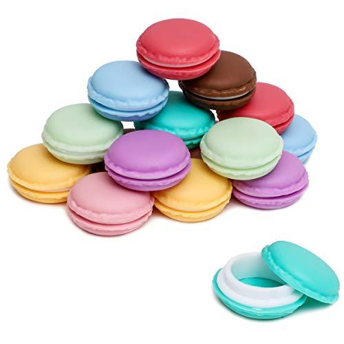 Juvale Paquete de 16 mini macarrones para guardar joyas y píldoras, varios colores, 1.5 x 0.5 pulgadas