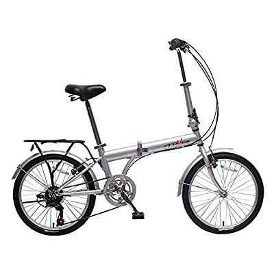 "unYOUsual U Transformer 20"" Folding City Bike Bicycle 6 Speed Shimano Gear Steel Frame Mudguard Rear Carrier Front Rear Wheel Reflectors Silver"