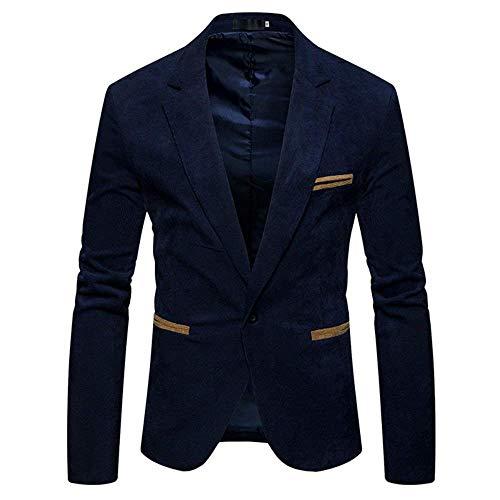 Saoye Fashion Herren Kord Sakko Männer Anzugjacken 1 Knopf Sakko Slim Fit Outerwear Kleidung Mantel Casual Jacke Freizeitsakkos (Color : Marine Blau, Size : 2XL)