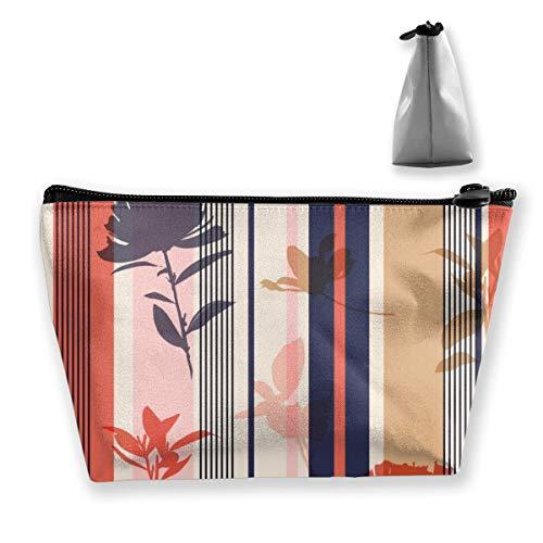 Multi-Functional Print Trapezoidal Storage Bag for Female Seamless Silhouette Flower