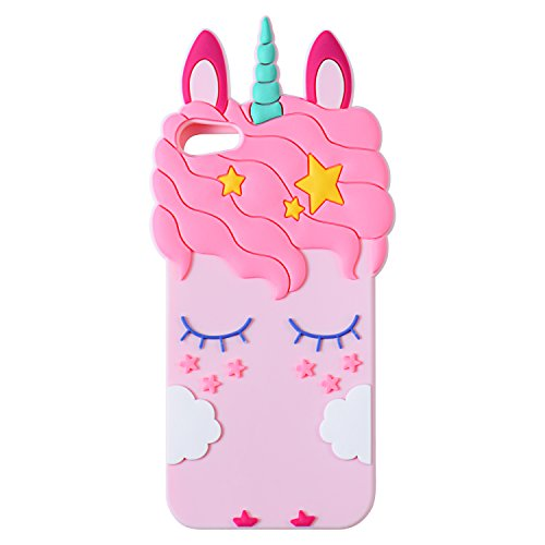 Mulafnxal Pink Unicorn Case for iPod Touch 5 6 5th 6th,3D Soft Silicone Cases,Cute Cartoon Animal Fun Cover,Kawaii Character Girls Kids Cool Protective Protector,Shockproof Rubber Shell for iPod6 5