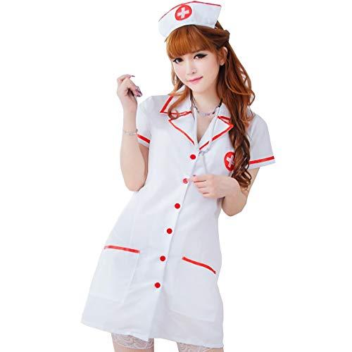[R-Dream] ナース コスプレ ナース服 衣装 セクシー コスチューム 看護師 看護婦 白衣 キュート 白衣の天使 (網タイツ 付き)