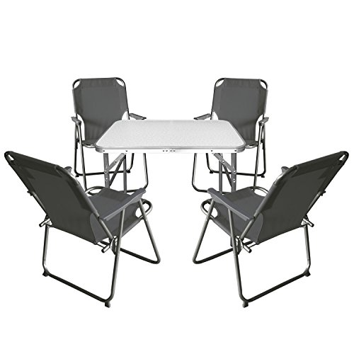 Wohaga Balkonmöbel Campingmöbel Set 5tlg. Aluminium Klapptisch 75x55cm + 4X Campingstuhl, Stone - Sitzgruppe Campinggarnitur Gartenmöbel
