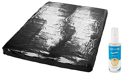 Wetgames Lack-Spannbettlaken Gummilaken Erotik & Sex Lacken Unterlage schwarz, 160 x 200 cm für Massage Sexspiele feuchte Sex Spiele