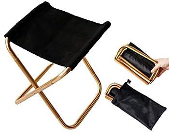 Mini tabouret de chaise pliable portable avec pochette, en aluminium compact ultraléger avec sac de transport pour jardin, plage, pêche, randonnée, camping, pique-nique et voyage Doré