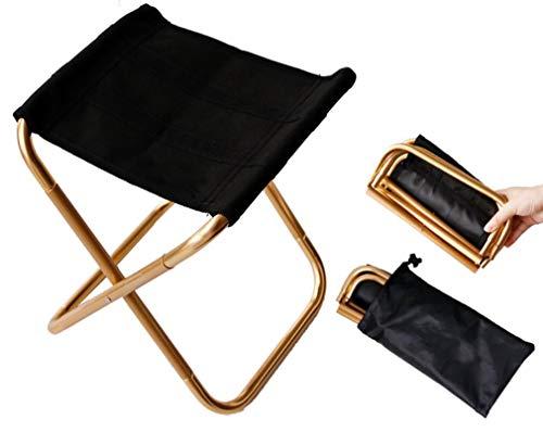 Tragbarer Mini-Klappstuhl mit Tasche, Aluminium, kompakt, ultraleicht, mit Tragetasche für Garten, Strand, Angeln, Wandern, Camping, Picknick, Reisen