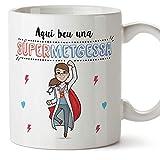 MUGFFINS Taza Médica (En Catalán)'Aquí beu una Súper Metgessa' Taza Desayuno/Idea Regalo Día de la Tía. Cerámica 350 mL