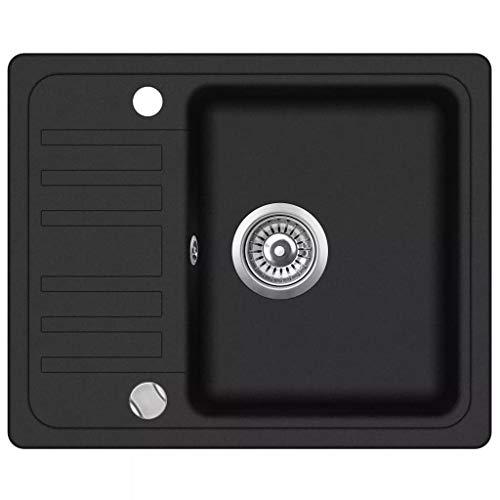 vidaXL Granite Kitchen Sink Single Basin Black Overmount with Basket Strainer