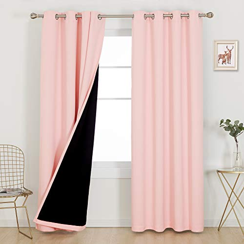 Deconovo Total Blackout Doubled Curtains 84 Inches Long Set of 2 100% Full Light Block Heat Cold Noise Reducing Grommet Drapes for Home Indoor Room Office, 2 Panels, Each 52x84 in, Crystal Pink