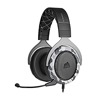 Corsair HS60 Haptic Stereo Gaming Headset with Haptic Bass Memory Foam Earcups Removable Microphone Windows Sonic Compatible Discord-Certified for PC - Arctic Camo