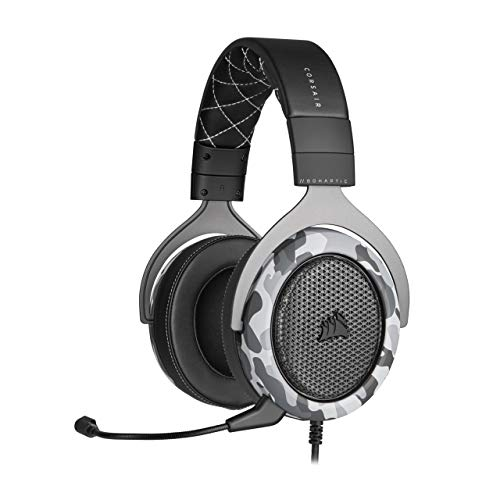 Corsair HS60 Haptic Stereo Gaming Headset with Haptic Bass, Memory Foam Earcups, Removable Microphone, Windows Sonic Compatible, Discord-Certified for PC - Arctic Camo