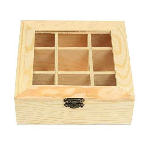 Raybre Art® 9 Fächer Tee Zuckerbeutel Aufbewahrung Holzkistenhalter Holz Kaffee Organizer