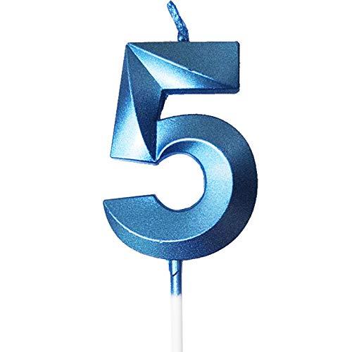 Happyhours Geburtstag Zahl Blau Kerzen Kuchenkerzen Nummer Kerzen Kuchen Dekoration (blau-5)