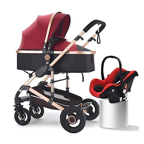Silla de paseo ligera y compacta,cochecito de port Lightweight High Landscape Baby Stroller Carrito recién nacido de dos vías, 3 en 1 cochecito plegable de cochecito para recién nacidos y niños pequeñ