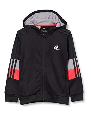 adidas Jungen B A.R. 3S FZ HD Sweatshirt, Black/Signal pink/Glory Grey, 910Y