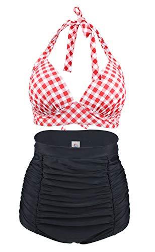 LA ORCHID Laorchid Rockabilly 1950s Damen Hohe Taillen Badeanzug Bikini Neckholder Bügellos Kariert Rot & Weiss L