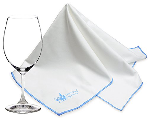 Trendy Bartender Microfiber Glass Polishing Cloth (2 Pack) – 25x20 inch – Premium Quality Lint-Free Cleaning Cloth for Stemware, Windows, Etc – Bar Towel for Streakfree Results (White)