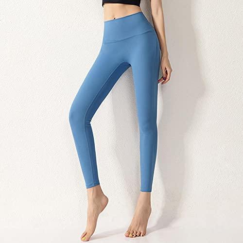 WENHUA Yoga Running Fitness con Elásticos Pantalones, Pantalón Deportivo Ajustado con Cintura Alta, Azul_L, Mujer Mallas Deportivo Pantalón Elastico para Running Fitness