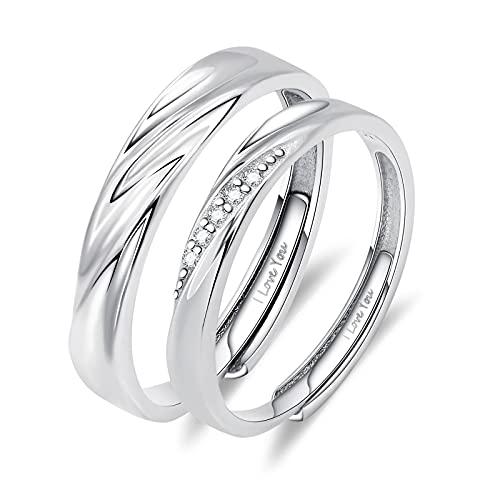 2 anillos de compromiso con texto 'I Love You', de plata 925, ajustable, alianzas de boda, Cubic Zirconia,