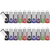 Lot de 20 Clé USB 2 Go Pivotant Stockage Carte Mémoire Flash Drive Clés USB 2.0 Stockage et Transfert de Données Numériques(Vert/Rouge/Noir/Bleu/Violet) (2GB*20PCS)