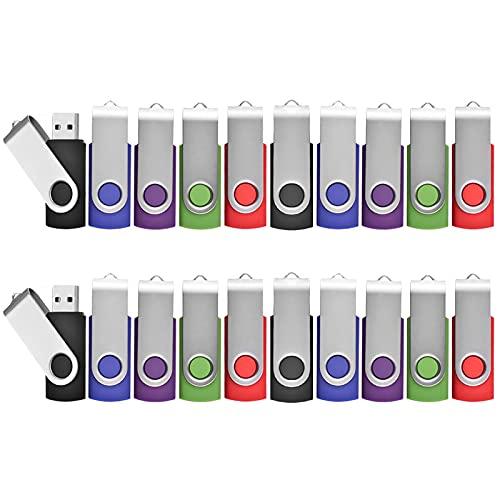 Lot de 20 Clé USB 8 Go Pivotant Stockage Carte Mémoire Flash Drive Clés USB 2.0 Stockage et Transfert de Données Numériques(Vert/Rouge/Noir/Bleu/Violet) (8GB*20PCS)