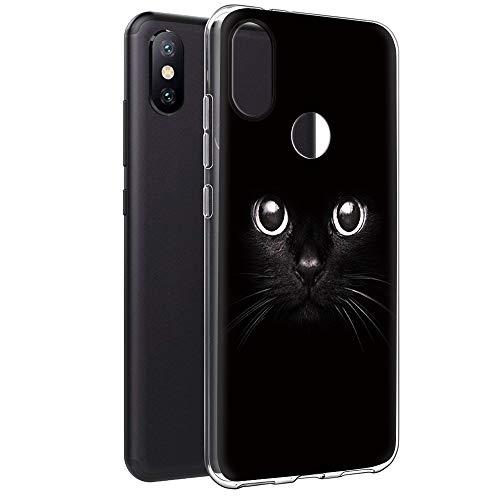 Eouine Funda Xiaomi Mi A2, Cárcasa Silicona 3D Transparente con Dibujos Diseño Suave Gel TPU [Antigolpes] de Protector Bumper Case Cover Fundas para Movil Xiaomi Mi A2 / Xiao Mi 6X (Gato Negro)