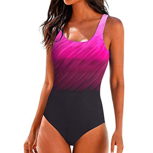 Damen Badeanzug Sexy, IFOUNDYOU Bademode Badebekleidung Große Größen Push Up Fashion Ärmelloses Neckholder Slim Fit V Ausschnitt Beachwear Bauchweg für Mollige Frauen