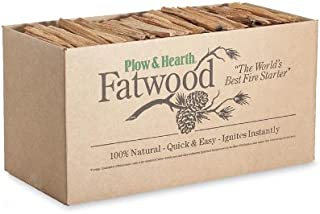 Plow & Hearth Boxed Fatwood Fire Starter All Natural Organic Resin Rich Eco Friendly Kindling Sticks for Wood Stoves Fireplaces Campfires Fire Pits Burns Quickly and Easily Safe Non Toxic (35 LB)