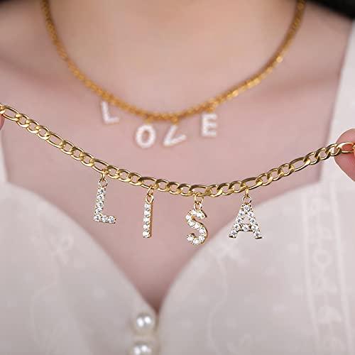SONGK Collares de circonita Personalizada con Letra Inicial AZ para Mujer, declaración gótica, Colgante con Nombre Personalizado, Regalos