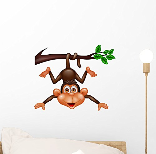 Wallmonkeys Funny Monkey Hanging Tree Wall Decal Peel and Stick Graphic (12 in W x 10 in H) WM255341
