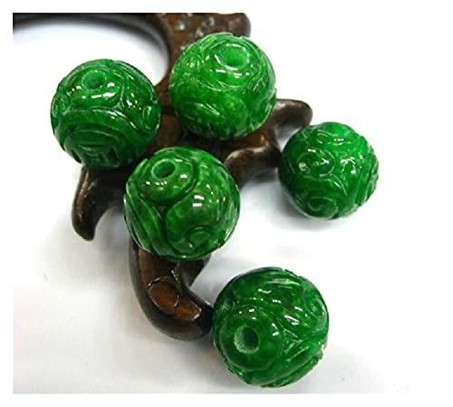COKILU Perlas de Jade de jadeita Natural DIY Jade Verde Pulseras Jade Regalo Genuino Jade Cuentas Brazalete Piedras Preciosas Pulseras para Mujeres malvados espíritus Dinero Dibujo Riqueza Fortuna