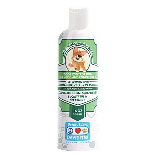 Pawtitas hondenshampoo en conditioner Handgemaakt met gecertificeerde biologische ingrediënten en havermout voor schoon, ontwarren, vochtinbrengende crème, glanst, deodoriseert uw puppy - 16 OZ