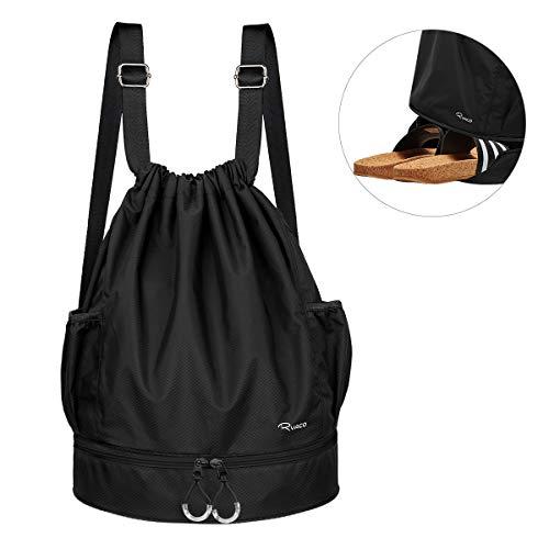Ryaco Mochila de Cuerda Unisex, Saco de Gimnasia para Deporte Gimnasio Yoga Nadar (Negro)