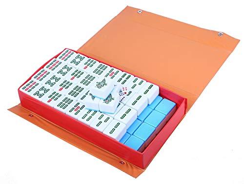 sZeao 144Pcs Mahjong Set Tragbares Mini Chinese Number Mah Jong Set Mit Lederbox Einfach Zu Lesendes Mahjong Spiel Für Freizeit Und Unterhaltung