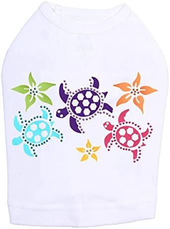 Satin Online limited product Sea Turtles with Flowers - White 4XL Dog Shirt Limited time sale