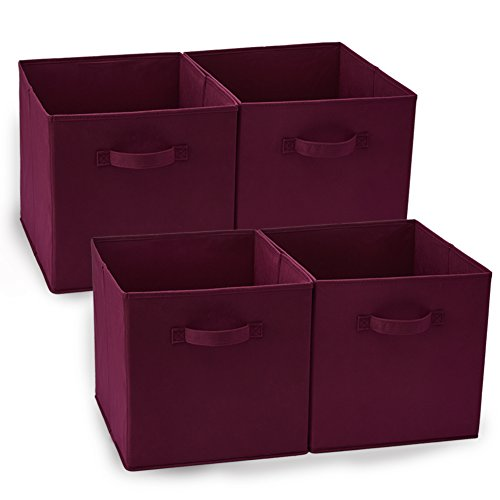 EZOWare Set of 3 Foldable Fabric Basket Bin, Collapsible Storage Cube for Nursery Home, Kids and Toddlers (13 x 15 x 13 inch, Wine Red)