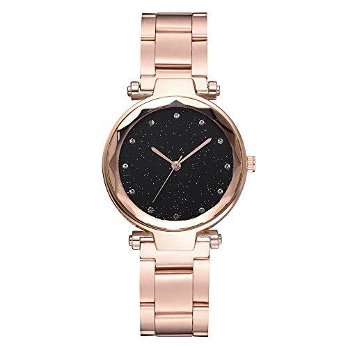 TYYW Reloj De Pulsera para Mujer con Cielo Estrellado De Moda, Cinturón De Acero, Reloj De Cuarzo para Mujer De Negocios, Oro Rosa