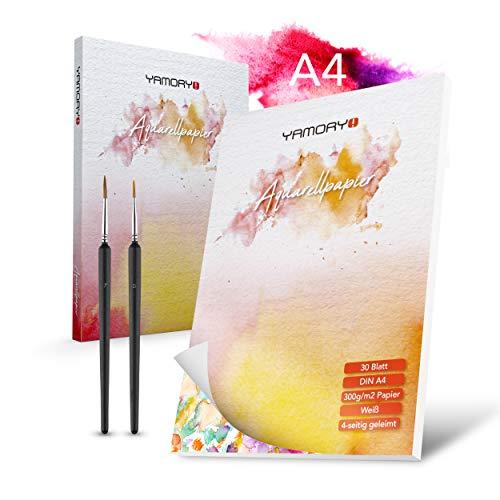 YAMORY!® Premium Aquarellpapier Set – [30] Blatt Aquarellpapier A4 300g – inkl. [2] Miniatur Pinsel – [4] seitig geleimtes Papier für Wasserfarben – Hochwertiges Aquarell Skizzenbuch A4