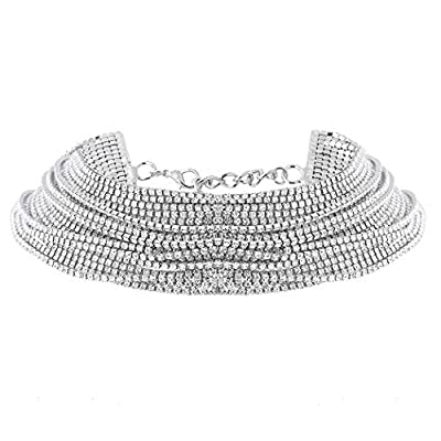 Nicute Rhinestone Choker Necklace Silver Layered Crystal Necklaces Chain Festival Jewelry for Women and Girls