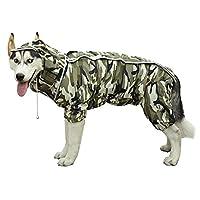 防水レインコート犬服大型犬小中レインコートジャンプスーツ服レインコートペットジャケット (26,camouflage)