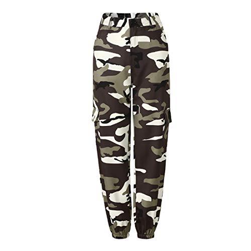 Inlefen Pantalons décontractés pour Femmes Pantalons lâches Camo Pant Pantalons Harem Pantalons de Danse Hip Hop Pantalons de Loisirs de Plein air Femme,Gris(Militaire),EU XS=Tag S