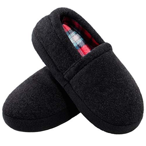 MIXIN Slippers for Boy House Shoes Indoor Outdoor with Anti Slip Sole Black 11-12 M
