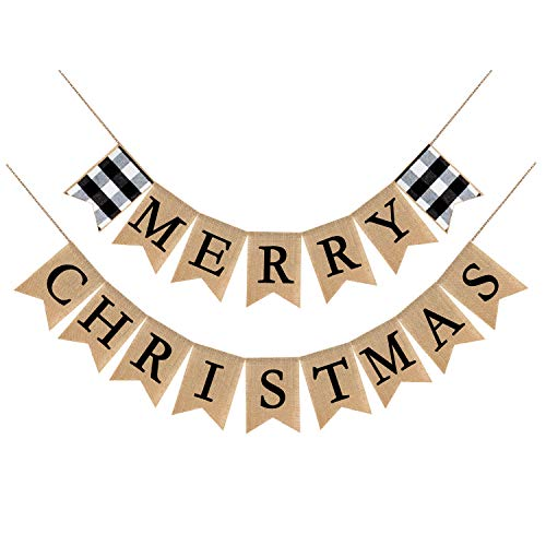 Adurself Merry Christmas Burlap Banner Buffalo Check Plaid Rustic Vintage Christmas Bunting Garland for Xmas Party Supplies Home and Outdoor Holiday D¨¦cor